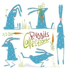 Brightly Colored Fun Cartoon Rabbits Animals vector image vector image