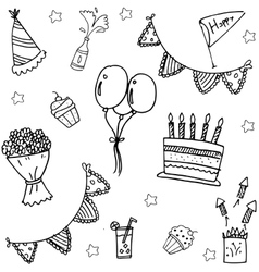 Childrens party doodle art vector