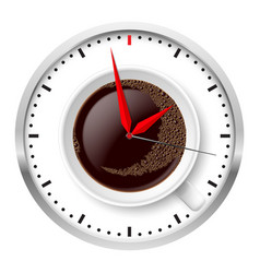 Clock and coffee cup on white vector