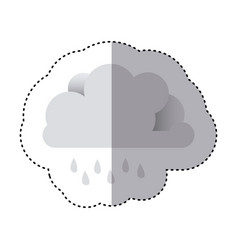 Color sticker of cloud with drizzle vector