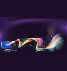 computer rainbow background vector image vector image