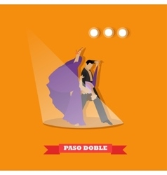 Couple dancing paso doble concept poster vector
