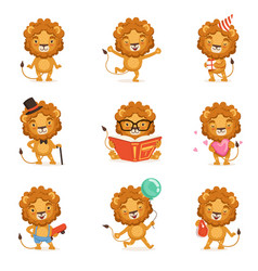Cute lion character character doing different vector