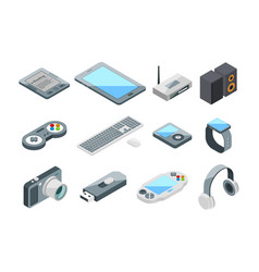 different electronic gadgets collection isometric vector image