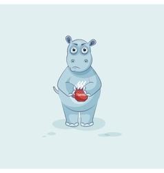 Emoji character cartoon hippopotamus nervous with vector