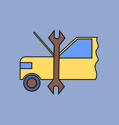 Flat icon design collection car and tool vector