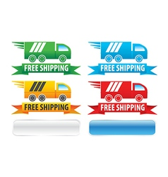 Free shipping trucks ribbons and extra buttons vector