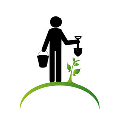 Gardener silhouette isolated icon vector