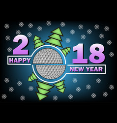 Happy new year 2018 and golf vector
