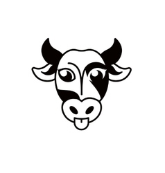 Isolated abstract black and white cow muzzle logo vector