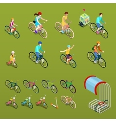 Isometric People on Bicycles vector image