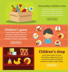 Kids toys banner horizontal set flat style vector