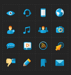 Modern flat social icons set on black vector