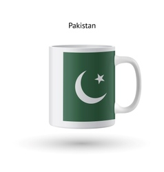 Pakistan flag souvenir mug on white background vector