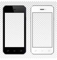 Realistic smartphones with transparent screen vector