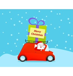 Santa drive christmas car with gift vector image