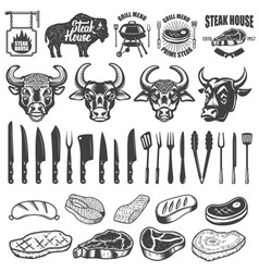 Set of bbq and grill labels and design elements vector