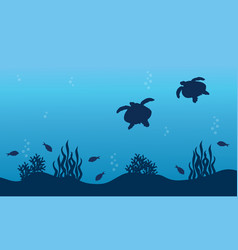 Silhouette of turtle fish and reef landscape vector