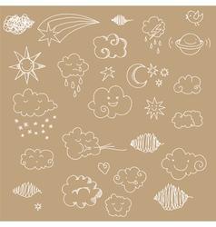 sky doodles line 3 vector image