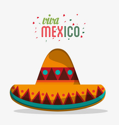 Viva mexico traditional hat party vector