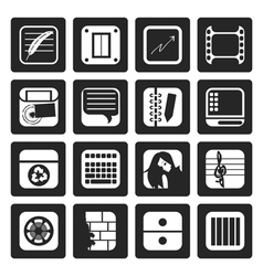 Black business office and mobile phone icons vector