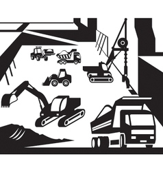 Construction and excavation machinery vector image