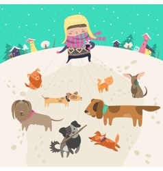 Girl dog-walker taking pack of dogs for a walk vector