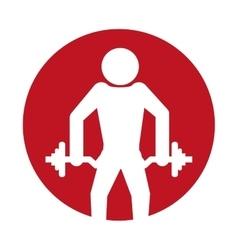 silhouette man fitness dumbbell design vector image