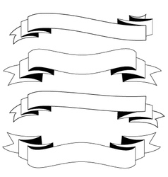 Ribbons black and white vector
