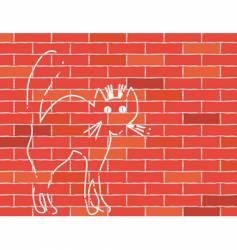 cat on brick wall vector image