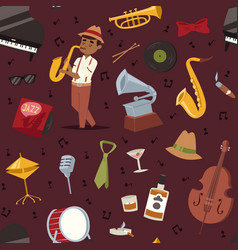 Fashion jazz band music party symbols art vector