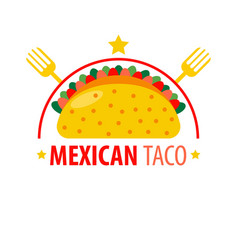 Mexican dish taco logo sign isolated on white vector