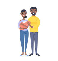 young black couple with baby hand drawn woman vector image