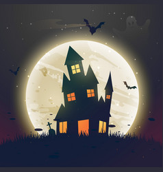 Scary haunted halloween house in front of moon vector