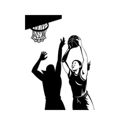 Basketball player laying up ball vector