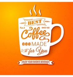 Poster with coffee cup on a bright cheerful vector