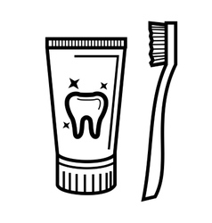 Toothbrush and toothpaste vector