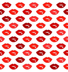 Cute fun red lips kiss seamless pattern vector