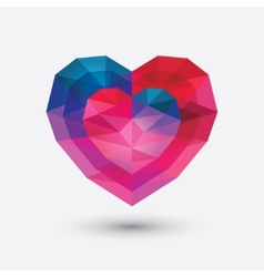 Crystal heart icon glass love symbol vector