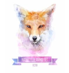 set of watercolor  Cute fox vector image