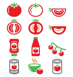 Red tomato ketchup tomato soup icons set vector