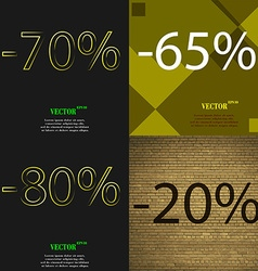 65 80 20 icon set of percent discount on abstract vector