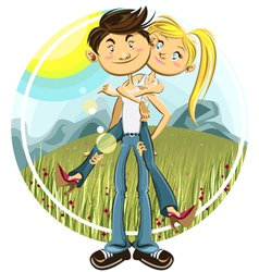 spring valentine couple vector image