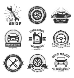 Auto services black white emblems vector