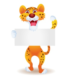 Cheetah with blank sign vector