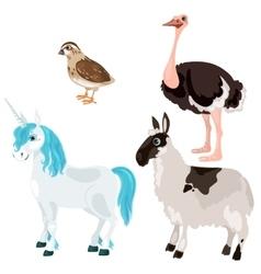 Unicorn ostrich deer and little bird vector