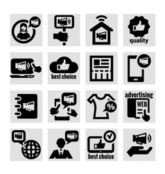 advertising icons set vector image vector image