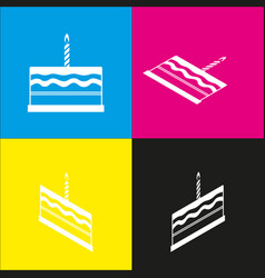 Birthday cake sign white icon with vector