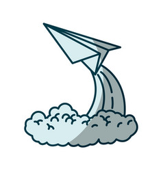 Blue shading silhouette of paper plane launch vector