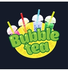 Bubble tea concept logo vector